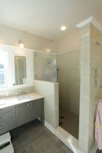 Gray Wall with Beige Tile Bathroom