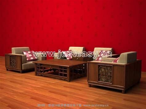canapé chinois combinaison de moderne canap en bois chinois 3d model