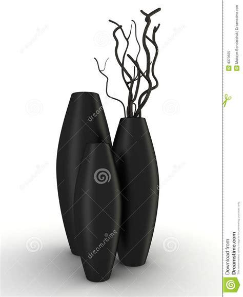 vasi neri tre vasi neri con legno asciutto hanno isolato