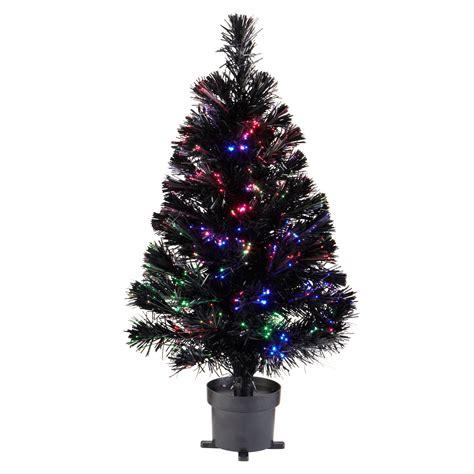bq fibre optic christmas trees 2 ft black fibre optic black pre lit tree departments diy at b q