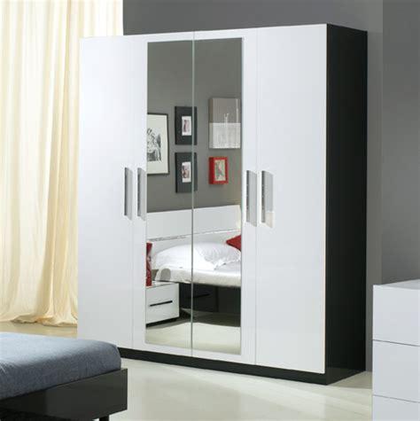armoire moderne chambre armoire 4 portes gloria noir et blanc blanc noir