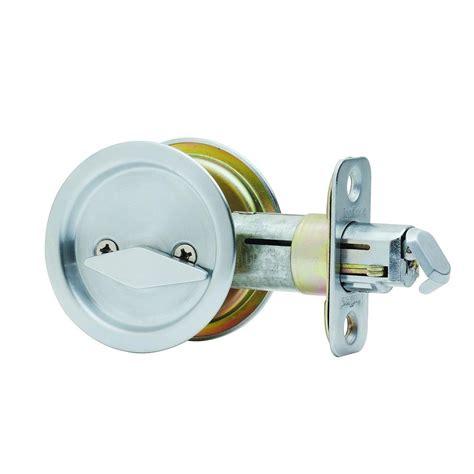 pocket door lock kwikset satin chrome bed bath pocket door lock 335