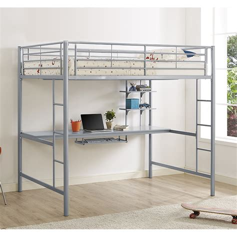 metal bunk bed with desk jersey metal full loft bed with desk bunk beds bdozsl 8