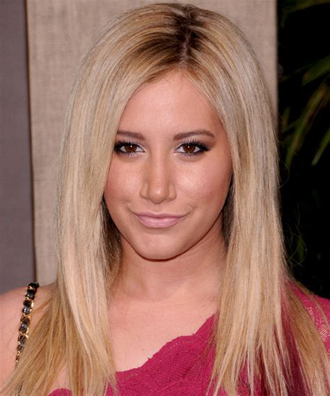 ashley tisdale long straight light copper blonde hairstyle