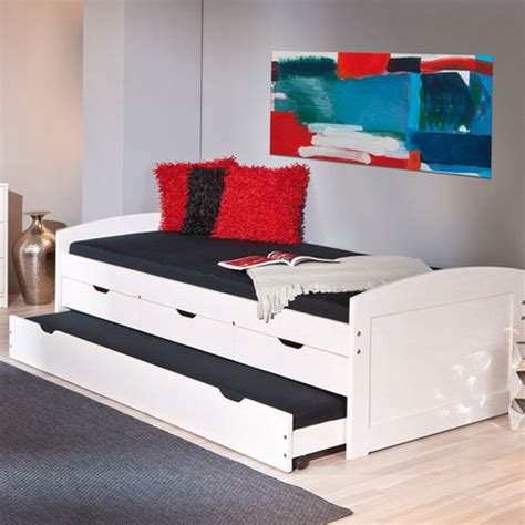 Bed With Pull Out Bed Underneath ulli day bed with 3 drawers and pull out bed in white