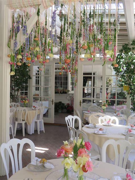 Garden Party Bridal Shower Hanging Flowers Garden