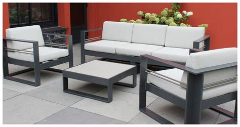 canapé bas design brisbane salon de jardin en aluminium laqué anthracite