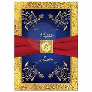 Wedding invitation blue red gold floral monogram for Royal blue and red wedding invitations