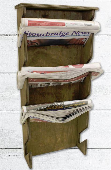 wooden newspaper rack