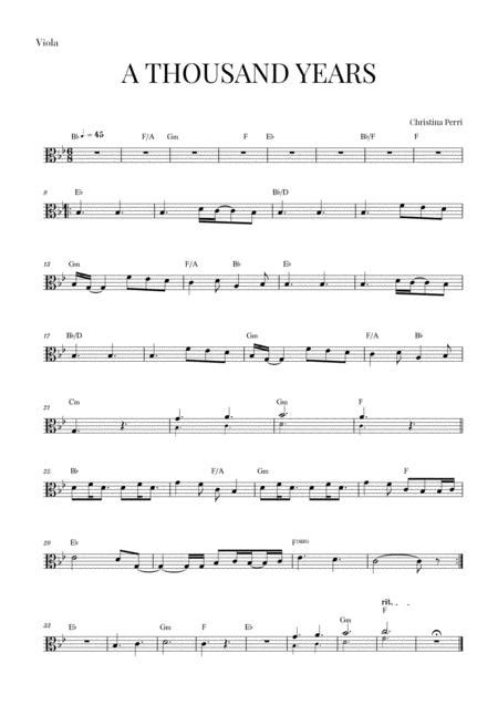 Whether you're looking for a new pop song to play or the score to a classical music piece, there's a website out there where you can find the music. A Thousand Years - Viola By Christina Perri - Digital Sheet Music For Individual Part,Lead Sheet ...