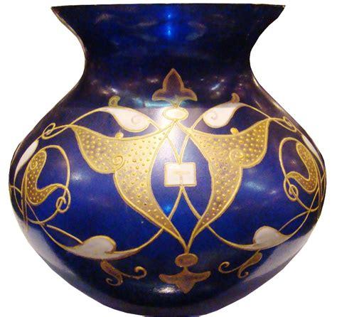 small blue art noveau glass vase  gold enamel work
