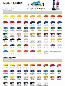 Daler Rowney Colour Chart Daler Rowney System 3 Colour Chart Farben