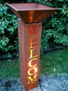 welcome saule h100 pflanzsaule gartendeko edelrost With französischer balkon mit edelrost skulpturen garten