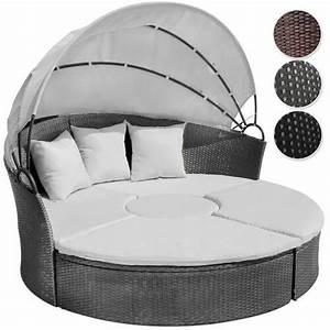 Polyrattan Lounge Rund : li il garten lounge runde polyrattan lounge sonneninsel mit dach ~ Indierocktalk.com Haus und Dekorationen