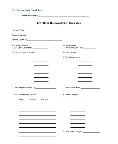 sample bank reconciliation forms   ms word