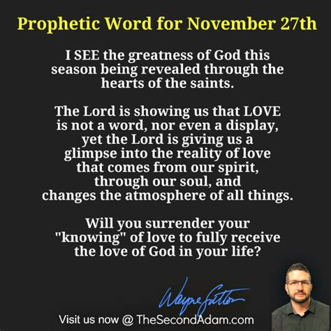 Prophetic Word For November 27th  The Second Adam