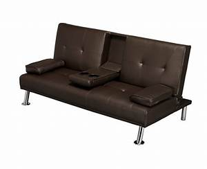 Luciana faux leather cinema style sofa bed w drinks holder for Flip down sofa bed