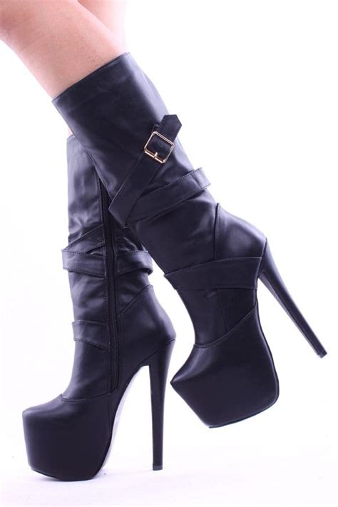 heeled motorcycle black faux leather knee high 6 inch platform heel boots