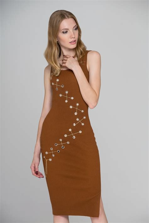 Midi Dress Dress Ola By Ladiva brown knit ring chain bodycon midi dress ownthelooks