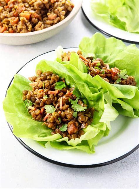 vegan thai lettuce cups  green split peas detoxinista