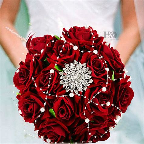 hd wedding bouquet handmade artificial flower rose buque