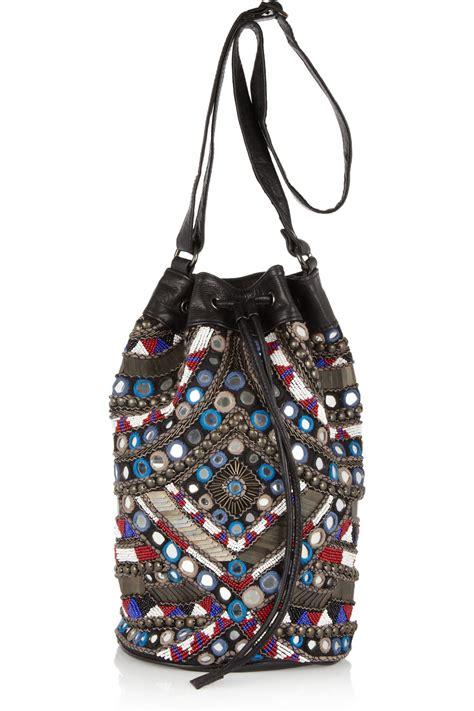 lyst antik batik top lyst antik batik orelia embellished shoulder bag in black