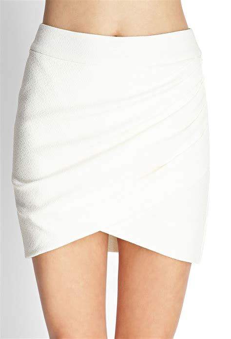drape front skirt forever 21 draped front mini skirt in white ivory lyst