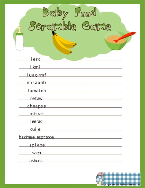 scramble cuisine free printable baby food scramble for baby shower