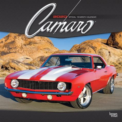 camaro monthly square wall calendar foil stamped