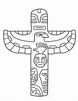 Totem Pole Coloring Pages Printable Poles Printables Native American Coloriage sketch template