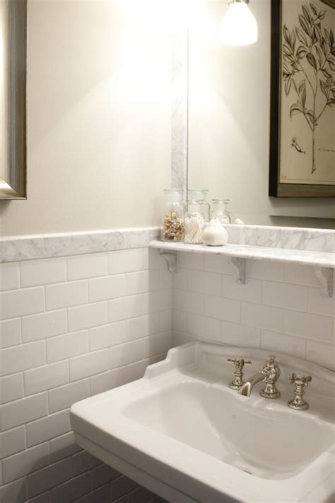 marble subway tile contemporary bathroom