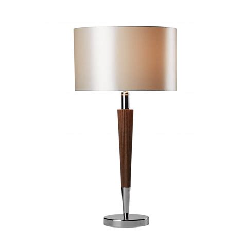 Lamps Table Contemporary by Viking Modern Chrome And Wood Effect Table Lamp With Shade