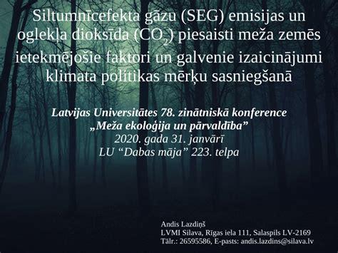 (PDF) Siltumnīcefekta gāzu (SEG) emisijas un oglekļa dioksīda (CO2) piesaisti meža zemēs ...