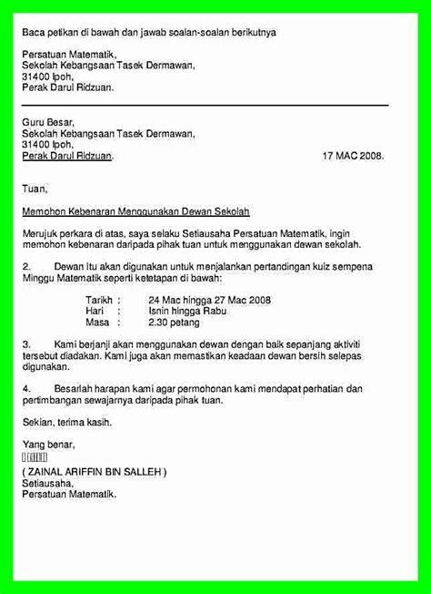 image result for contoh surat permohonan menggunakan dewan