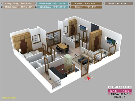 3 Bhk Home Plan New 3 Room House Plans Unique Residential