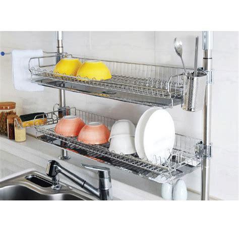 kitchen dish storage stainless fixing shelf dish drying rack drainer 1554