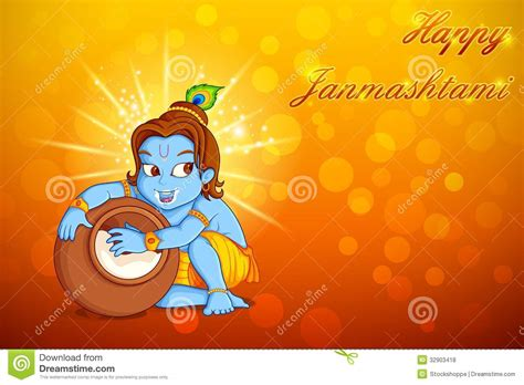 Lord Krishna Stealing Makhaan In Janmashtami Cartoon