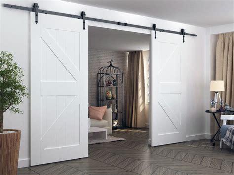 8ft Arrow Style Double Sliding Barn Wood Closet Door