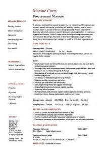 Purchase Manager Resume Sles Indian by Procurement Manager Cv Template Description Sle