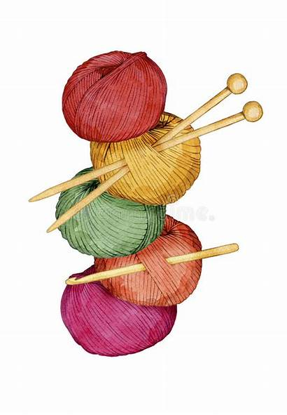 Yarn Knitting Crochet Needles Clipart Watercolor Balls
