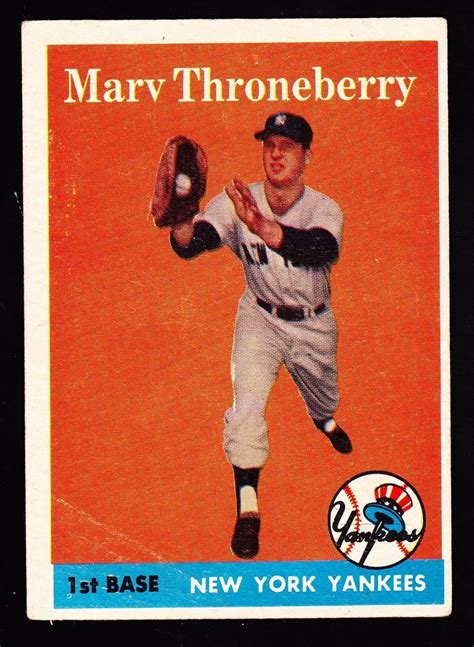 After a thorough examination of your items, american legends will provide a comprehensive written appraisal of your. 1958 TOPPS #175 MARV THRONEBERRY YANKEES ROOKIE # ...