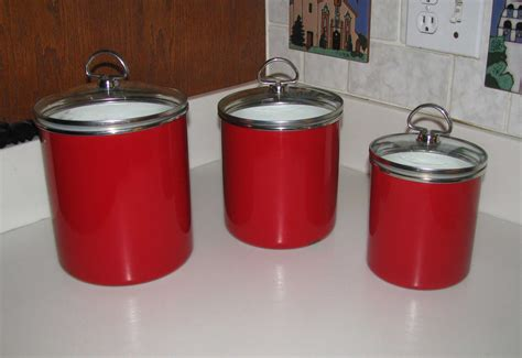 stainless steel kitchen canister set chantal apple enamelware canister set reduced