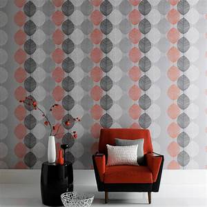 Arthouse Retro Leaf Wallpaper Orange And Silver