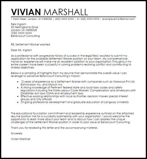 settlement worker cover letter sle livecareer