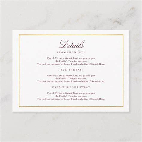 elegant script faux gold burgundy details enclosure card