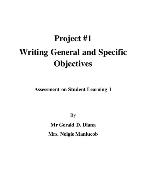 assessment  writing general  specific objectives