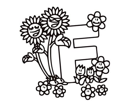 Printable Flower Coloring Pages Letter F