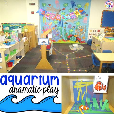 aquarium theme in the dramatic play center pocket of 554 | Slide16