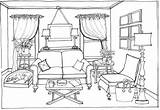 Coloring Sofa Furniture Modern Retro Pages Antique sketch template