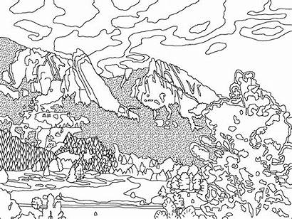 Coloring Mountain Pages Range Mountains Printable Colorado